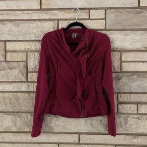 XCVI Burgundy Ruffle Zip Up Jacket Size Small